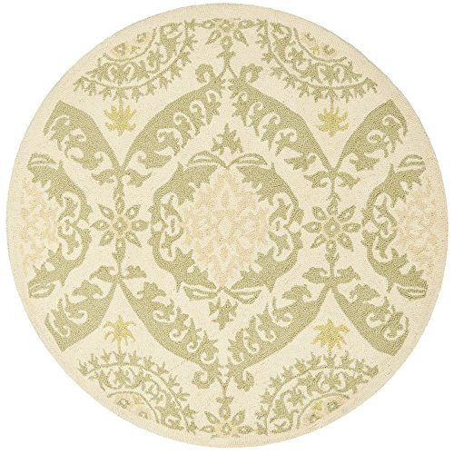 Accents Collection Hooked Rug (Safavieh Chelsea Collection HK356C Hand-Hooked Beige and Green Premium Wool Round Area Rug (4')