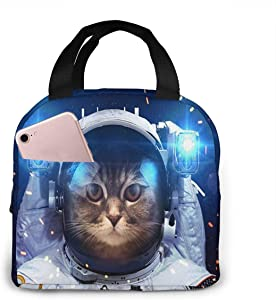 KiuLoam Cool Cat Astronaut Reusable Insulated Lunch Bag for Boys Girls Men Women Lunch Box Tote Bag Food Container for Work Travel Picnic