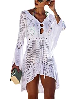 f738576c9b Bsubseach Women Crochet Swimsuit Cover Up Hollow Out Flare Sleeve Beach  Dress