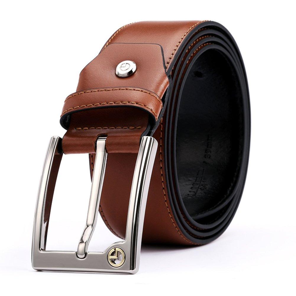 Men's Leather Ratchet Dress Belt With Automatic Buckle-A 110cm(43inch)