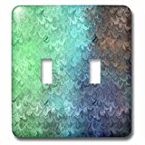 3dRose Uta Naumann Faux Glitter Pattern - Girly Trend Mint Teal Luxury Elegant Mermaid Scales Glitter Glamor - Light Switch Covers - double toggle switch (lsp_272871_2)