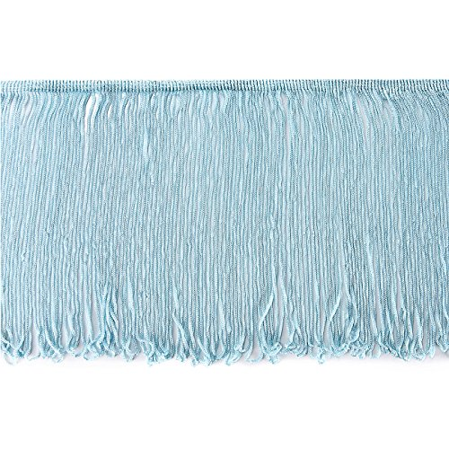 Neotrims Rayon Silky Loop Fringe. Costume Chainette Tassel Trimming, Soft Drape, 3 lengths 10, 15 & 25cms Long. Home Decoration, Garment Apparel Edge Trim, 11 Colours. 2 Yards Light Blue - Edge Loop Fringe