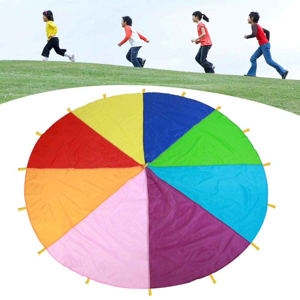 Galagee 3M Diameter Outdoor Rainbow Play Parachute Toy - Gymnastics Parachutes with 16 Handles for Play Teamwork Game Toy for Kids (9.8 ft with 8 Colors) by Galagee