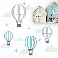 Little Deco Muursticker kinderkamer ballon wolken sterren mint grijs I muurschildering 55 x 28 cm (B x H) I Muursticker…