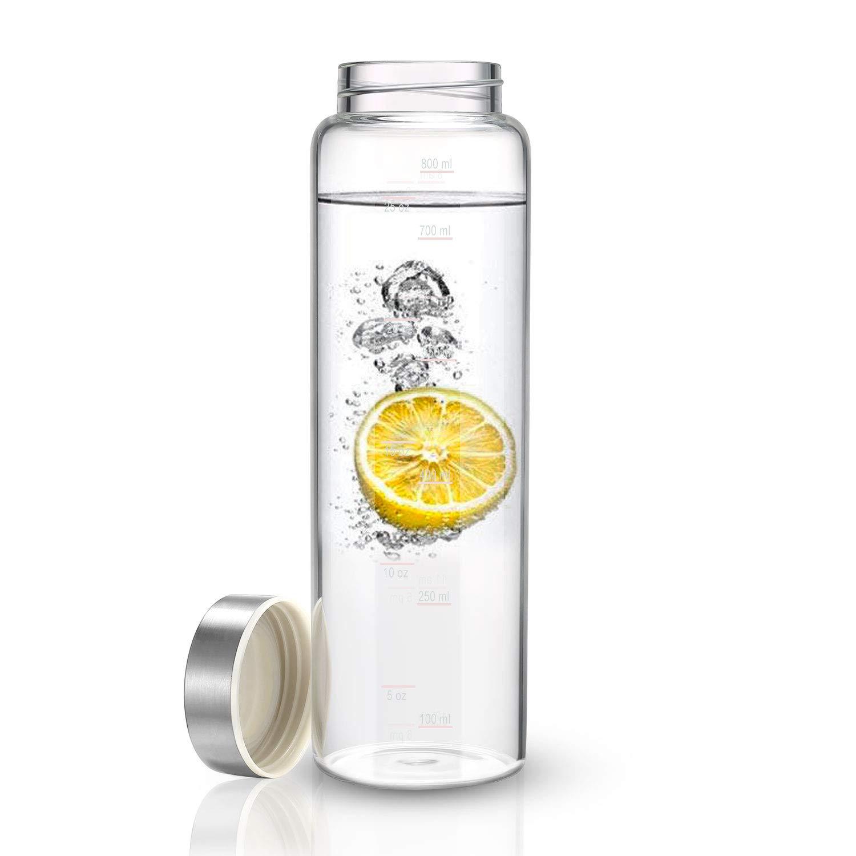 Amazon.com: Botella de agua de cristal con mangas de ...