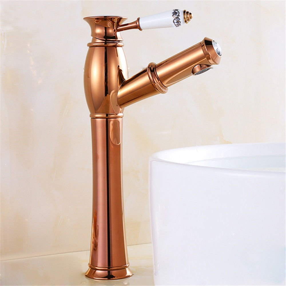 Hlluya Professional Sink Mixer Tap Kitchen Faucet All copper antique pull-down faucet antique table basin of cold water faucet golden basin Faucet