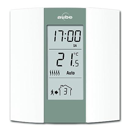 Aube TH136 - Termostato programable, color crema y gris