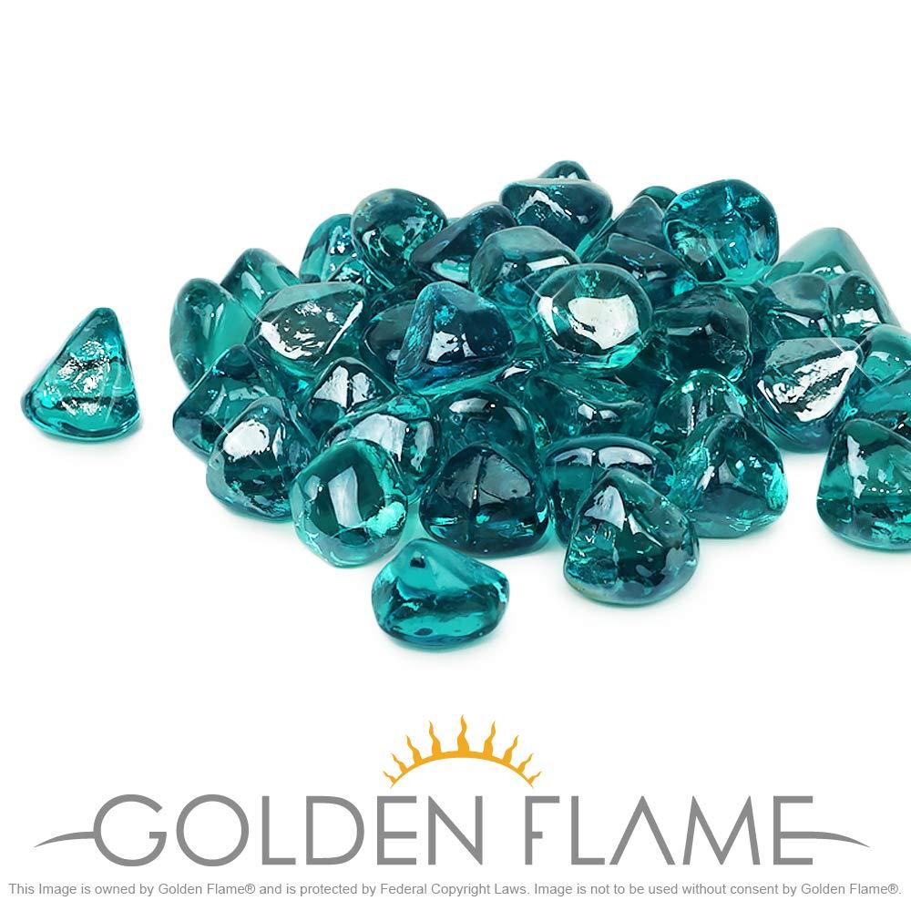 Golden Flame 10-Pound Fire Glass 1-Inch Caribbean Blue Reflective Fire-Diamonds