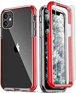 COOLQO Compatible for iPhone 11 Case, with [2 x Tempered Glass Screen Protector] Clear 360 Full Body Coverage Hard PC+Soft Silicone TPU 3in1 Heavy Duty Shockproof Defender Phone Protective Cover Red