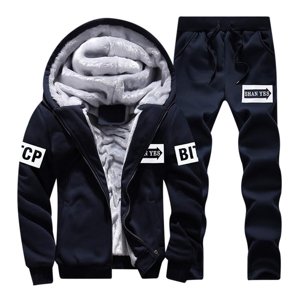 Damark(TM) Men Winter Thick Warm Zipper Hooded Tracksuit Set Fleece Jacket Coat Sports Jogging Hoodie Cardigan Sweat Suits