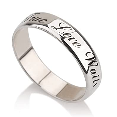 personalized purity ring 925 sterling silver engraved promise ring couples ring wedding bands - Couples Wedding Rings