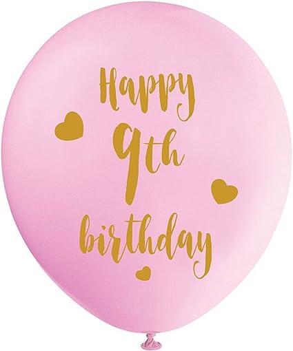 Amazon.com: Globos de látex rosa para 9 cumpleaños, 11.8 in ...