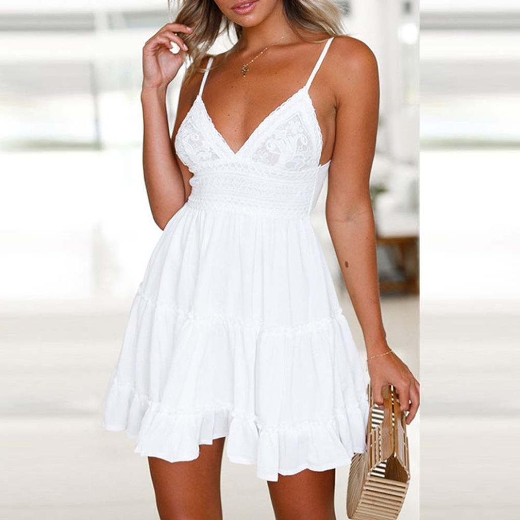 5521007d80 Amazon.com  Women s Mini Dress Sexy Deep V-Neck Spaghetti Blackless Bow White  Short Skirt Zulmaliu  Clothing