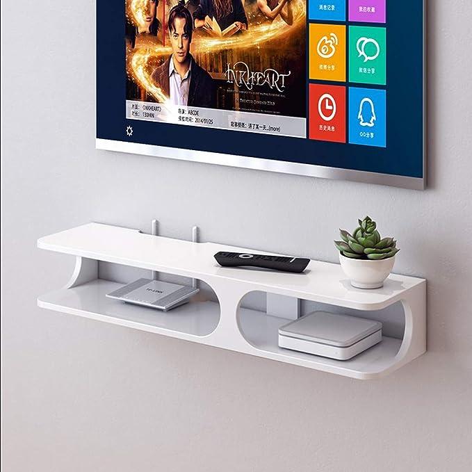Decoración De La Pared Repisa Flotante TV Set-Top Box Rack Enrutador Caja De Almacenamiento Colgante De Pared Sala De Estar Dormitorio Tabique (Color : White): Amazon.es: Hogar