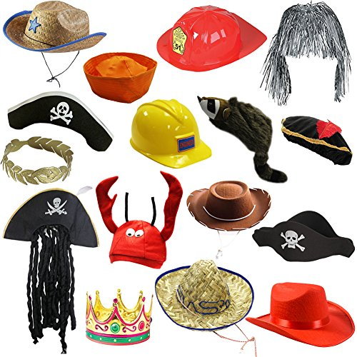 [6 Assorted Dress Up Costume & Party Hats by Funny Party Hats (6 Child Costume Hats)] (Hat Costumes Accessory)