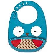 Skip Hop Zoo Fold & Go Silicone Bib, Blue Owl