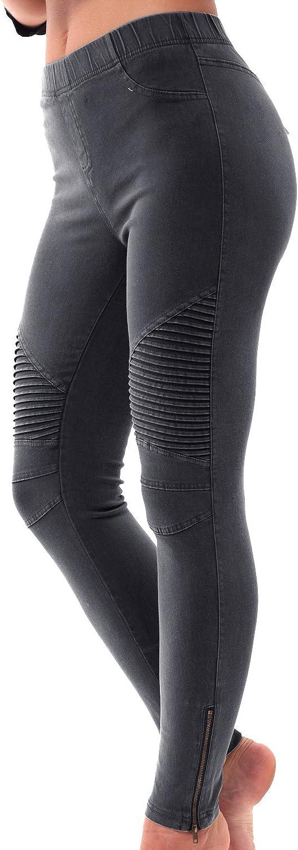 Womens Biker Skinny Ankle Zipper Pleated Stretch Pencil Pants