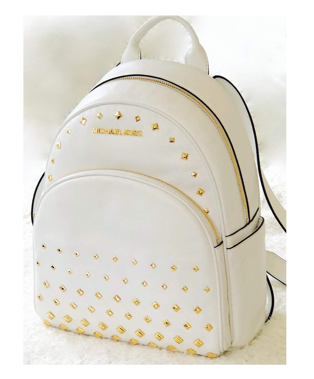 f5c3ba6d4 Galleon - Michael Kors Abbey Medium Studded Backpack Leather White Bag