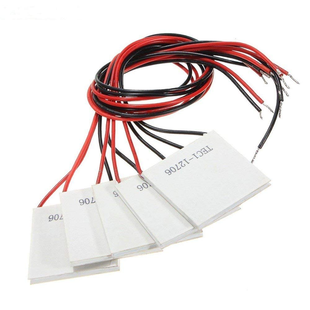 Diymore 5pcs TEC1-12706 12V 6A 40MMX40MM Heatsink Thermoelectric Cooler Peltier Plate Module