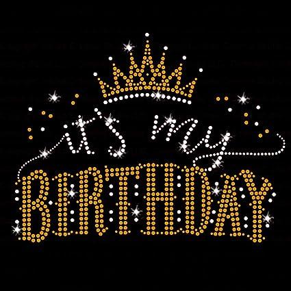 Amazon.com: Su mi cumpleaños hierro en Rhinestone vidrio de ...