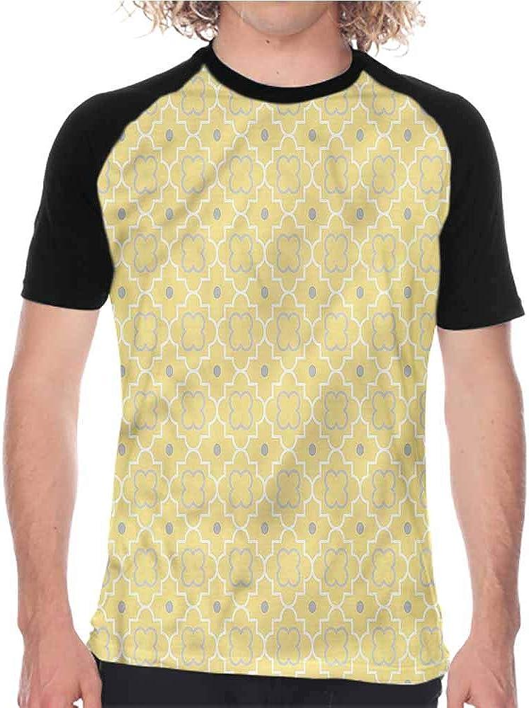 Houselife Quatrefoil,T Shirt Print Boys Tee Moroccan Line Shapes,Fashion Men Short Sleeve Digital