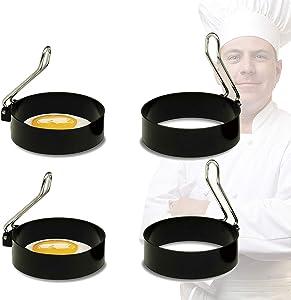 Egg Ring Set For Shaping Eggs, Egg Cooker Rings For Cooking, Stainless Steel Non Stick Mold Shaper Circles, Round Egg Ring Mold For Fried Egg, Pancakes,Sandwiches- Egg Maker Molds… (4 PCS)