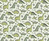 Animals Fabric Dinosaurs In Green by Caja Design Printed on Fleece Fabric by the Yard by Spoonflower