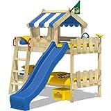 WICKEY Lits superposés CrAzY Circus lit mezzanine lit enfant avec toboggan, toit et sommier à lattes, bâche bleu + toboggan bleu