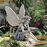 Design Toscano EU41620 The Sunflower Fairy Garden Statue Bird Feeder, 20 Inch, Two Tone Stone For Sale