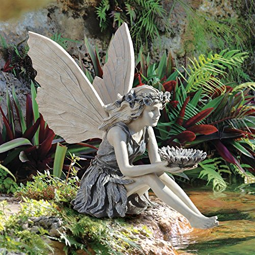Design Toscano EU41620 The Sunflower Fairy Garden Statue Bird Feeder, 20 Inch, Two Tone Stone