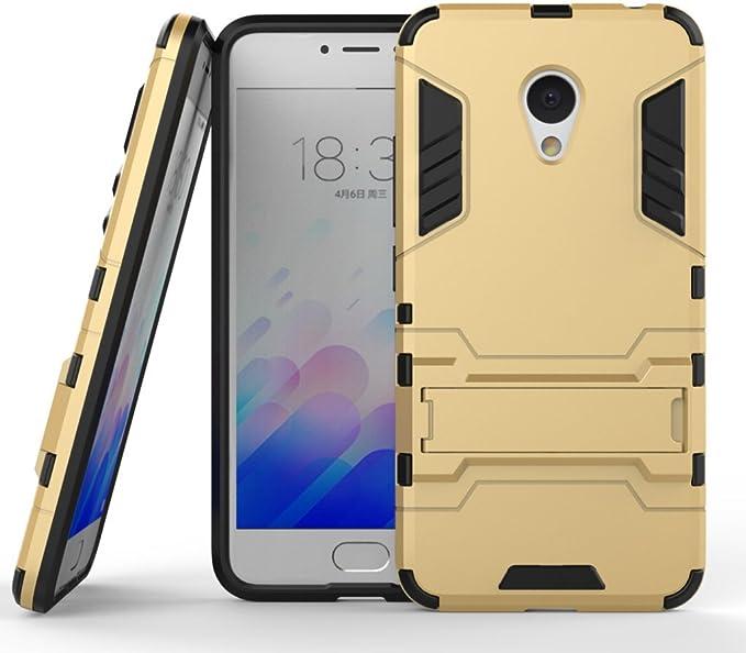 Funda para Huawei M3 Note/Note3 2016 Funda Carcasa Case, Ougger Protector Extrema Absorción de Impacto [Kickstand] Piel Armor Cover Duro Plástico + Suave TPU Ligero Rubber 2in1 Back Gear Rear Oro: Amazon.es: