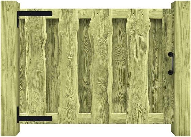 ACCEWIT - Puerta para jardín (Madera de Pino impregnada, 100 x 75 cm), Color Verde: Amazon.es: Hogar