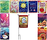 Beech Lane Seasonal Garden Flag Set Of 10- Metal Pole Included, Double Sided Flags, Thick Weatherproof Polyester Fabric, Adorable Artist Drawn Colorful Artwork, 12x18 Size
