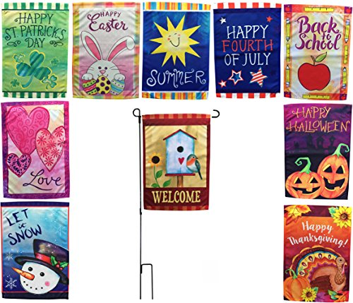 Beech Lane Seasonal Garden Flag Set Of 10- Metal Pole Included, Double Sided Flags, Thick Weatherproof Polyester Fabric, Adorable Artist Drawn Colorful Artwork, 12x18 Size by Beech Lane