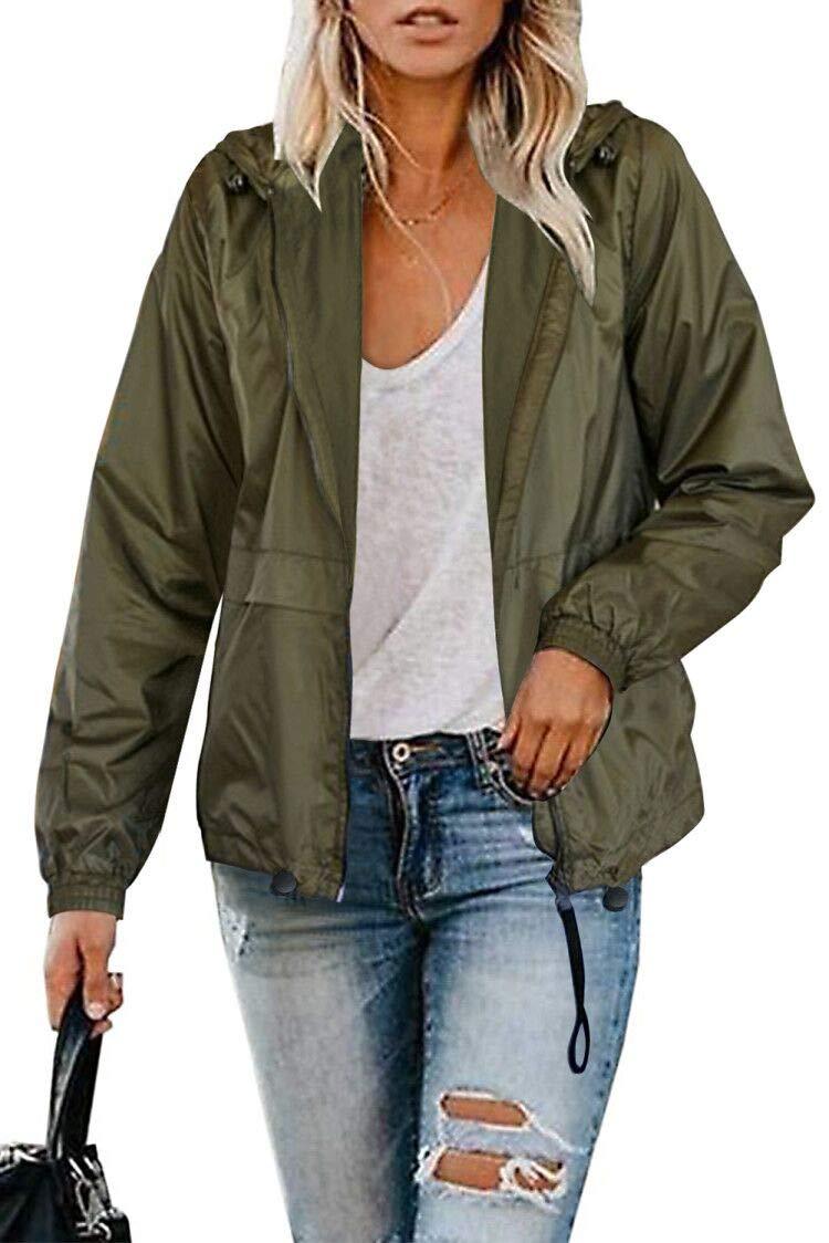 TECREW Women Long Sleeve Zip-Up Hooded Jacket Waterproof Lightweight Raincoat Packable Outdoor Windbreaker