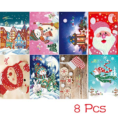 Fenebort 8PC/16PCs 5D DIY Diamond Painting Greeting Card, Diamond Cartoon Painting Mini Santa Claus Merry Christmas Paper Craft Postcards ()