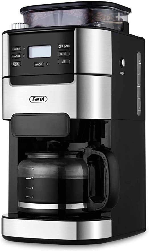 Removable Filter Basket 1.5L Large Capacity Water Tank 10 Cup Drip Coffee Maker 1025W Black Grind and Brew Automatic Coffee Machine with Built-In Burr Coffee Grinder Programmable Timer Mode and Keep Warm Plate