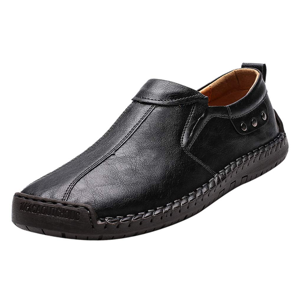 Flats Loafers Slip-on Men's Casual Leather Driving Breathable Walking Boat Shoes (US:8, Black) by Suoxo Men Shoes