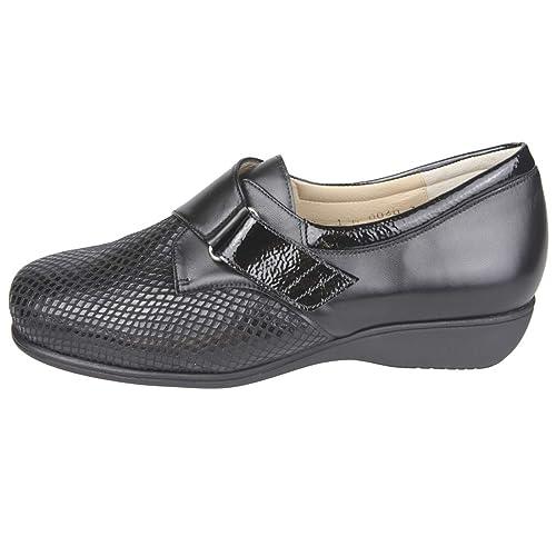 Cari Falco 00060- Zapato ortopédico Estilo Merceditas, Color Negro. Ancho Especial para pies
