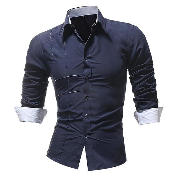 Resplend Blusa Superior de Manga Larga de Vestir de Manga Larga sólida Formal Ocasional del otoño de los Hombres: Amazon.es: Ropa y accesorios