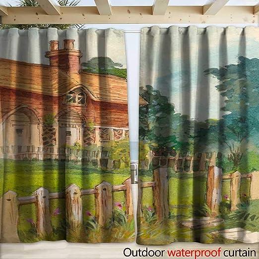 warmfamily - Cortinas Impermeables para Exteriores, diseño de Iglesia Vieja en la Colina, 108 x 96 cm: Amazon.es: Jardín