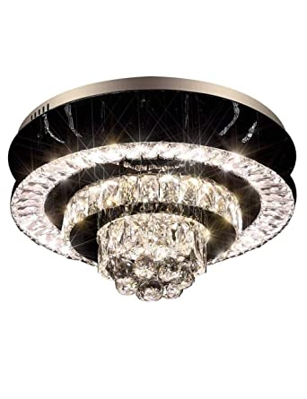 Eplazalighting Upgrade Led Ceiling Lights With Remote Control Easy Fit 19 5 Modern Lighting Color Changing Crystal Round Light For Bedroom Living