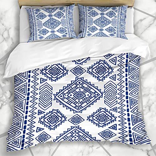 Ahawoso Duvet Cover Sets King 90x104 Tribal Blue Folk Ethnic Geometric Pattern Flower Abstract Indian African Arabic Boho Craft Microfiber Bedding with 2 Pillow Shams