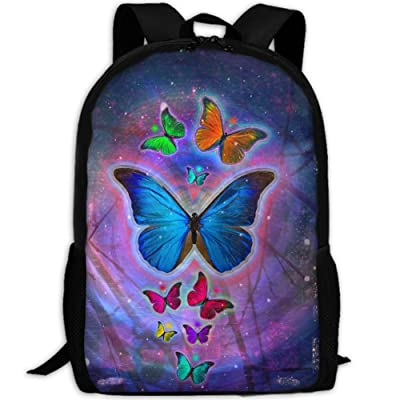 Magical Purple Butterfly Luxury Print Men And Women's Travel Knapsack