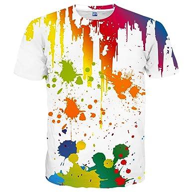 db3e13c76 Hgvoetty Unisex Creative White 3D Print Colorful Shirt for Men Women S