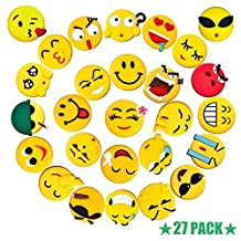 3D Emoji Fridge Magnets Set 27 Pack, Pococina Home Kitchen Carton Refrigerator Magnets Sticker for Home, Kitchen and Office Decoration (Yellow)