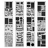 Bullet Journal Stencil 12Pcs, HBlife Plastic Planner Stencils Journal/Notebook/Diary/Scrapbook DIY Drawing Template Stencil 4x7 Inch