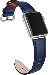 SWEES Leather Band Compatible with iWatch 38mm 40mm, Genuine Leather Elegant Dressy Replacement Strap Compatible with iWatch Series 5/4/3/2/1 Sport Edition Women, Royal Blue