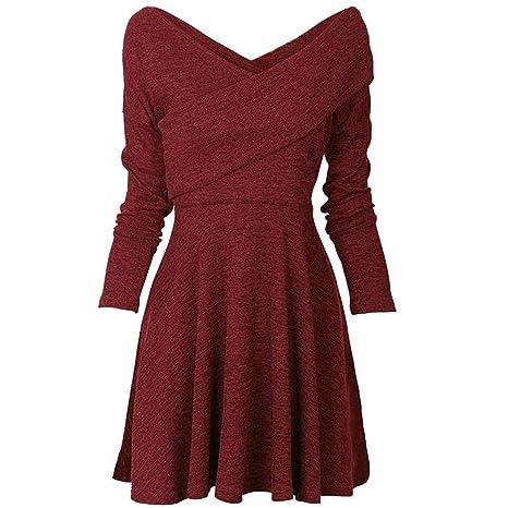 c5268b5a31b3 Abito YanHoo Donna Pizzo Maglione Maglia Maniche Lunghe Vestito Corto  Elegante Casual Moda Pullover Vestiti Donna