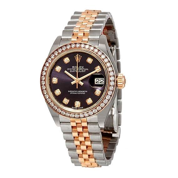 Rolex 279381PUDJ- Reloj de pulsera para mujer con esfera de diamante morado de acero y